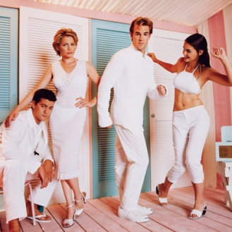 Joshua Jackson, Michelle Williams, James Van Der Beek and Katie Holmes --- Image by © George Lange/CORBIS OUTLINE